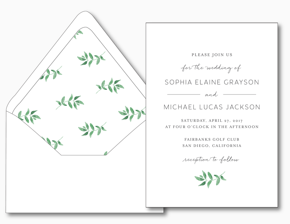 Greenery Minimalist Wedding Invitation