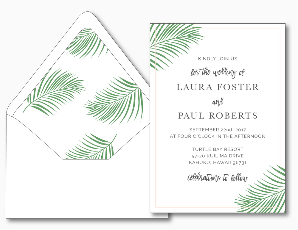 Soft Tropical Palm Leaf Wedding Invitation