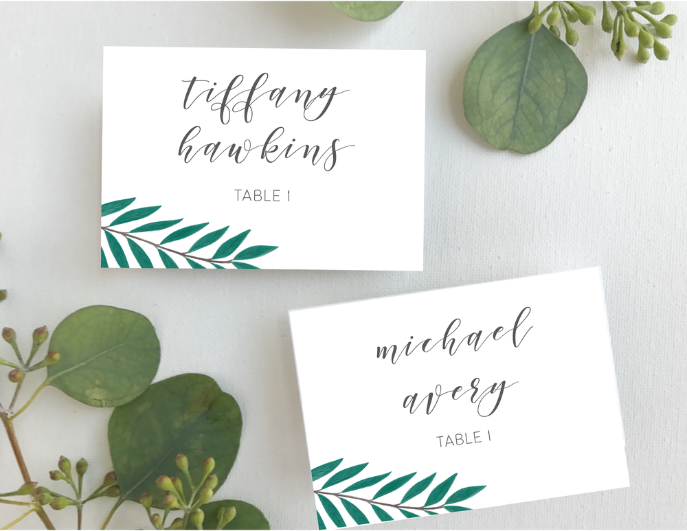 Teal Green Leaf Place Cards-01.png