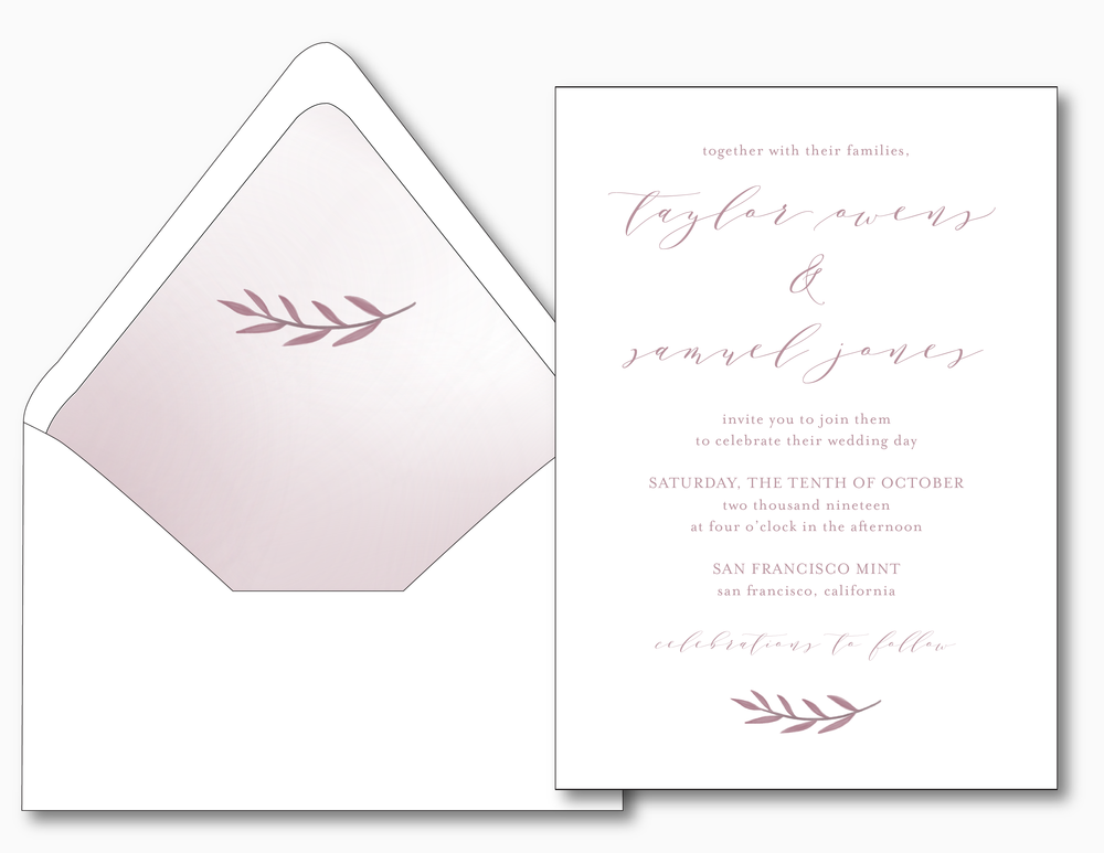 Modern Mauve Wedding Invitation