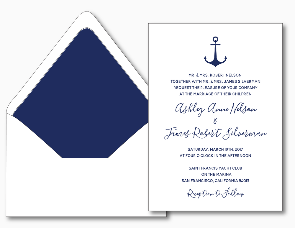 Anchor Nautical Wedding Invitation