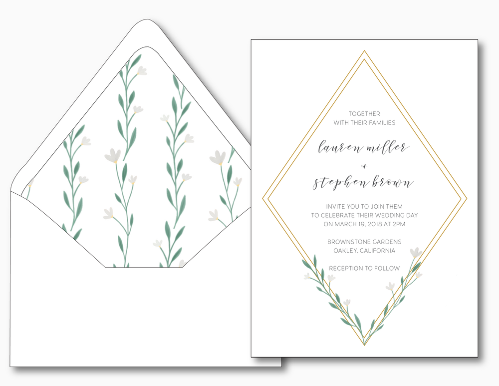 Simple Geometric Floral Wedding Invitation