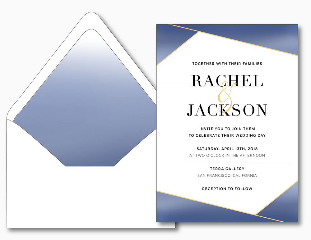 Blue & Gold Modern Wedding Invitation