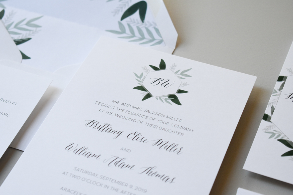 1163 Romantic Green Leaf Monogram Invitation by Just Jurf 1.jpg