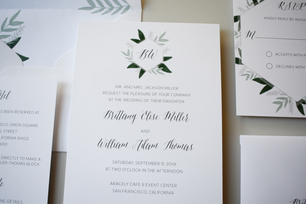 1163 Romantic Green Leaf Monogram Invitation by Just Jurf 2.jpg