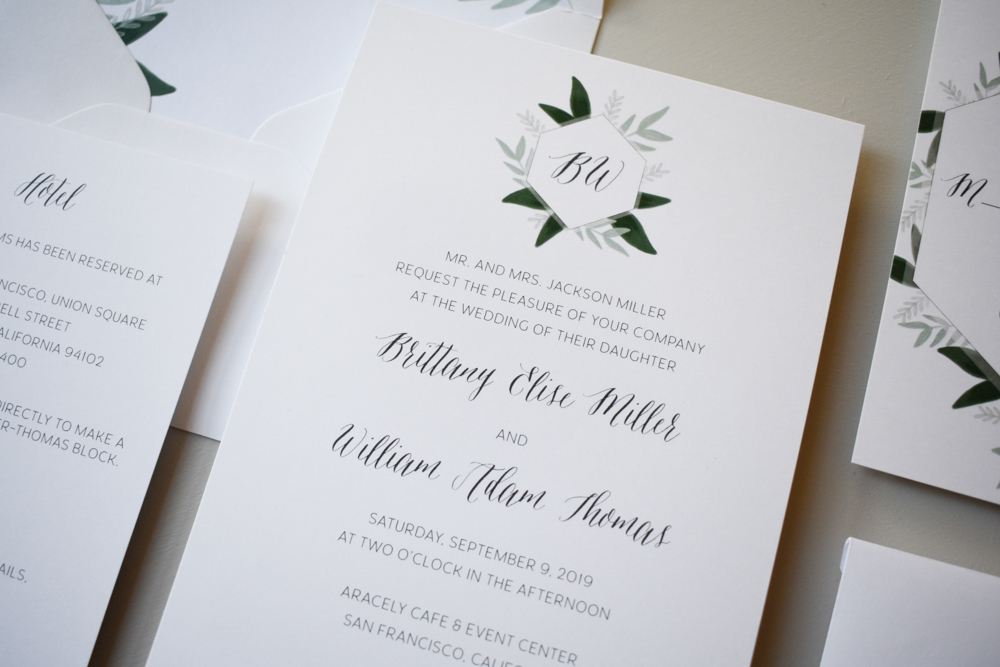 1163 Romantic Green Leaf Monogram Invitation by Just Jurf 3.jpg