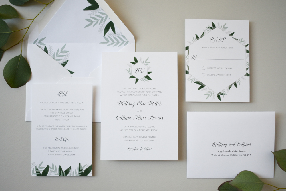 1163 Romantic Green Leaf Monogram Invitation by Just Jurf 4.jpg