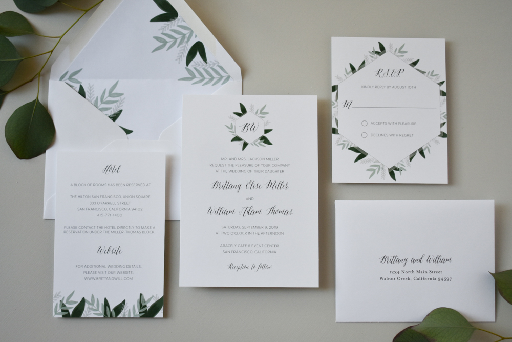 1163 Romantic Green Leaf Monogram Invitation by Just Jurf 9.jpg