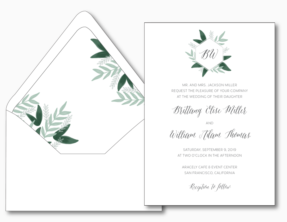 Romantic Green Leaf Monogram Wedding Invitation