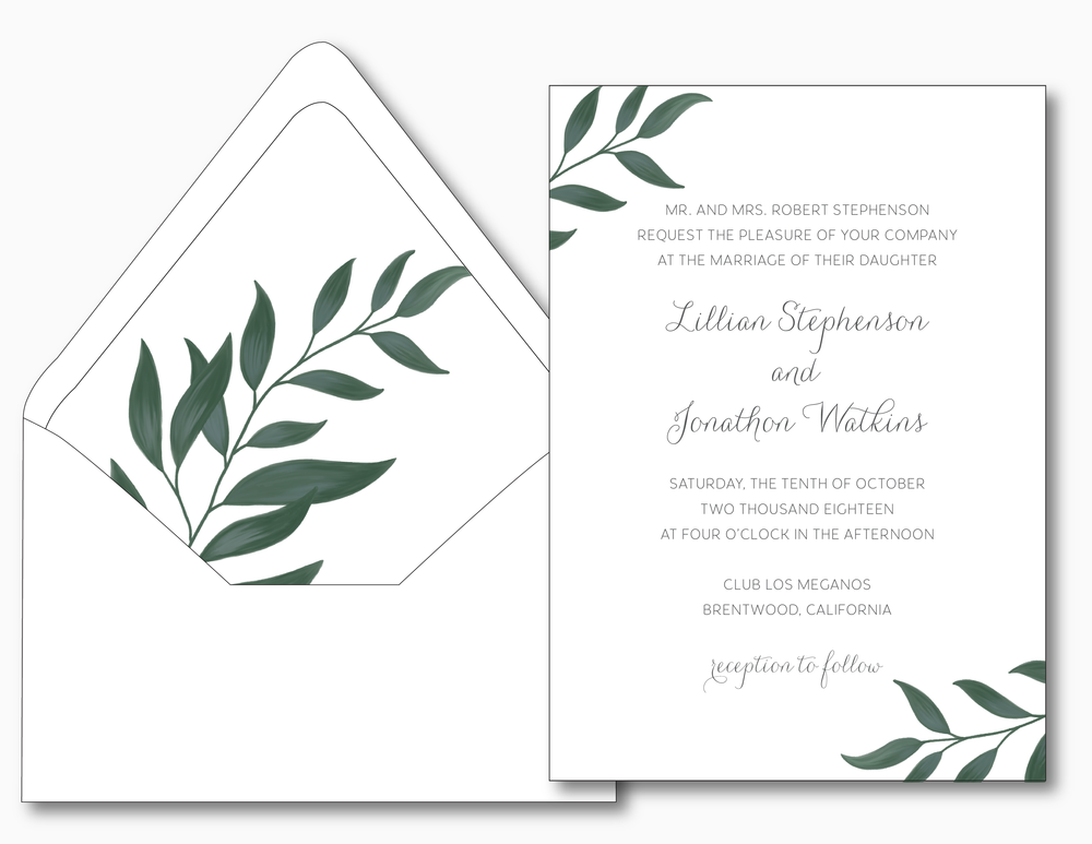 Botanical Leaf Wedding Invitation
