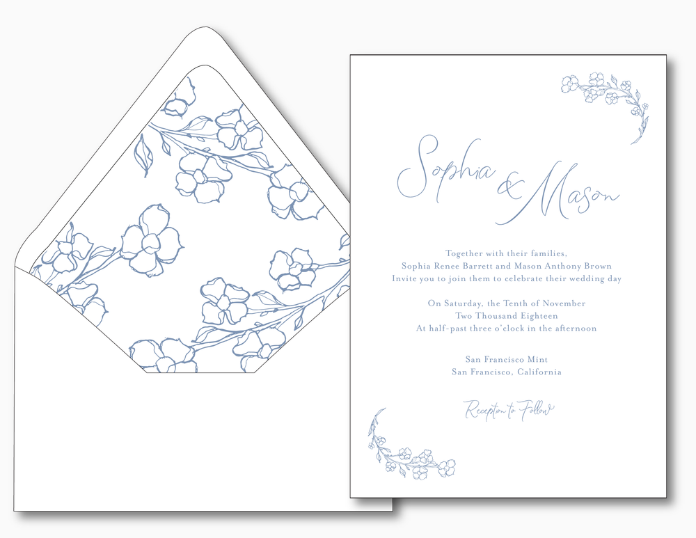 Dusty Blue Floral Wedding Invitation