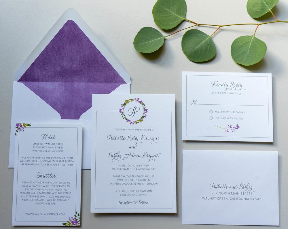 Purple Lavender Floral Wedding Invitation by Just Jurf - 1.jpg