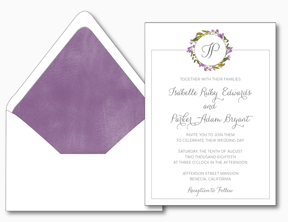 Purple Floral Monogram Wedding Invitation