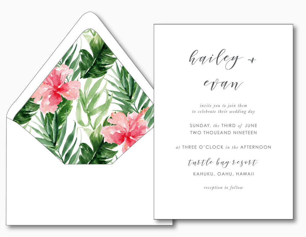 Tropical Floral Wedding Invitation