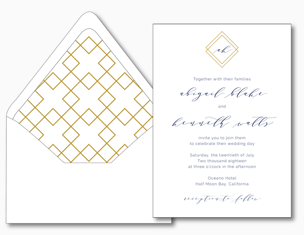 Blue Modern Geometric Wedding Invitation