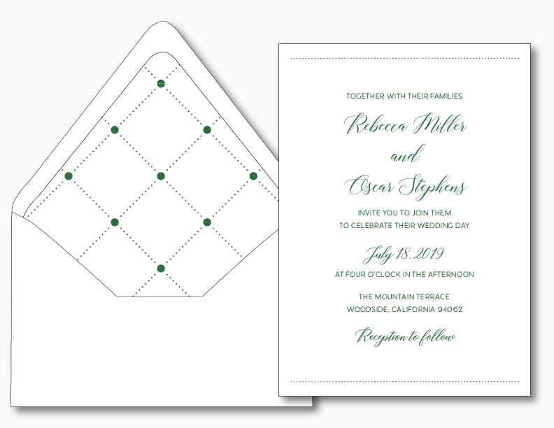 Simple Green Wedding Invitation