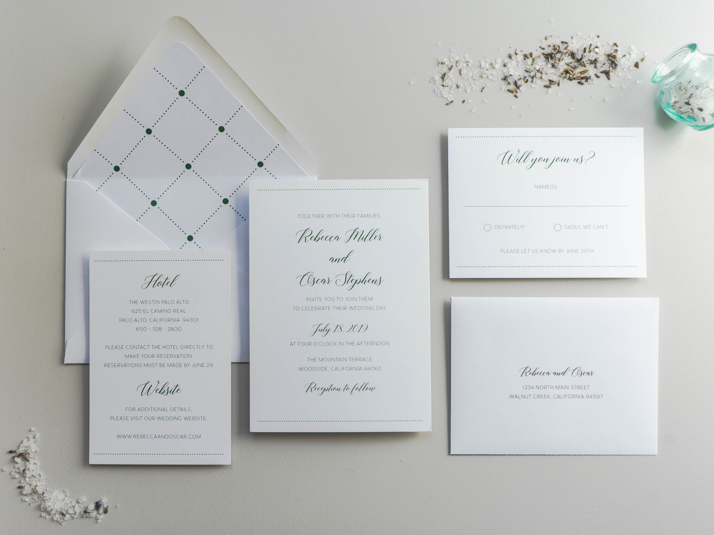 Simple Green Wedding Invitation Design Launch Just Jurf Designs