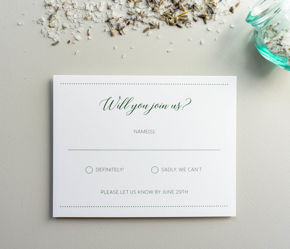 Simple Green Wedding Invitation Design Launch — Just Jurf Designs