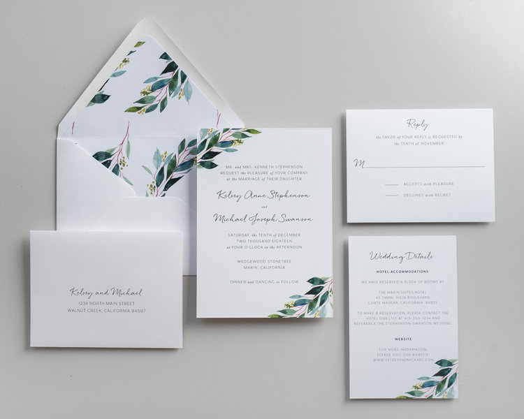 Botanical greenery wedding invitation design launch just jurf designs this wedding invitation suite can be customized with new fonts custom stamps and vellum wraps stopboris Images