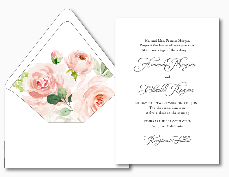 Pink Watercolor Floral Wedding Invitation