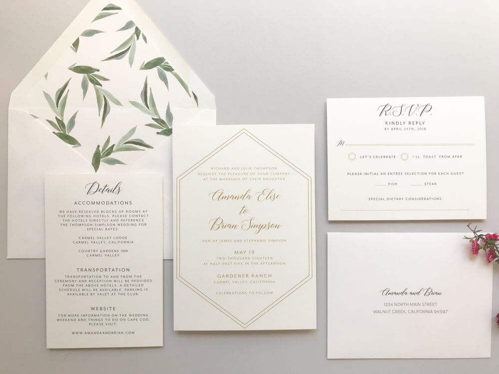 Hexagon and Modern Greenery Wedding Invitation by Just Jurf - 3.jpg