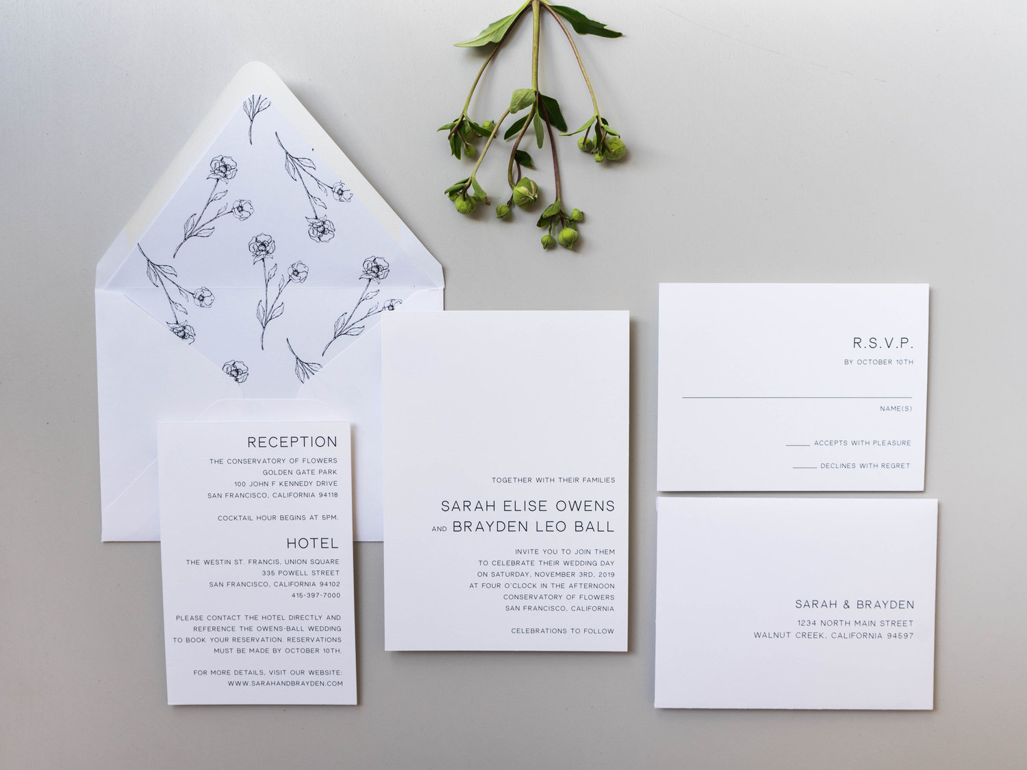 Modern floral wedding invitation design launch just jurf designs modern floral wedding invitations by just jurf 3g stopboris Image collections