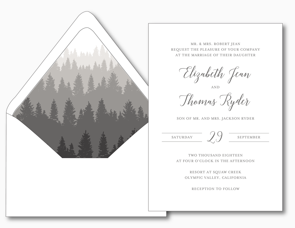 Elegant Mountain Wedding Invitation