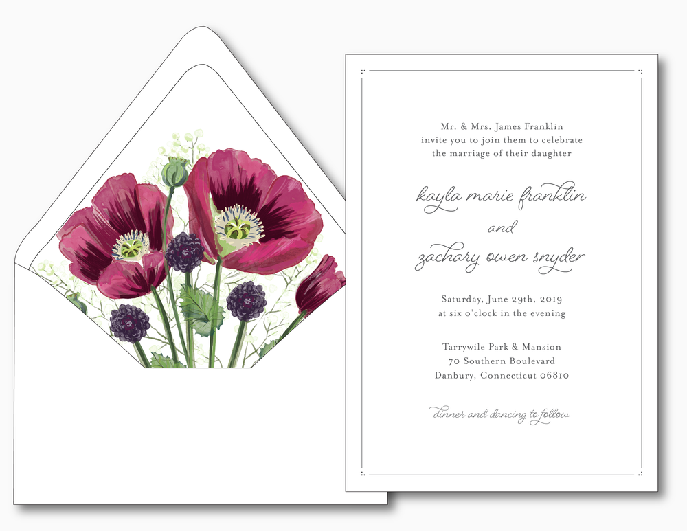 Burgundy Poppy Wedding Invitation