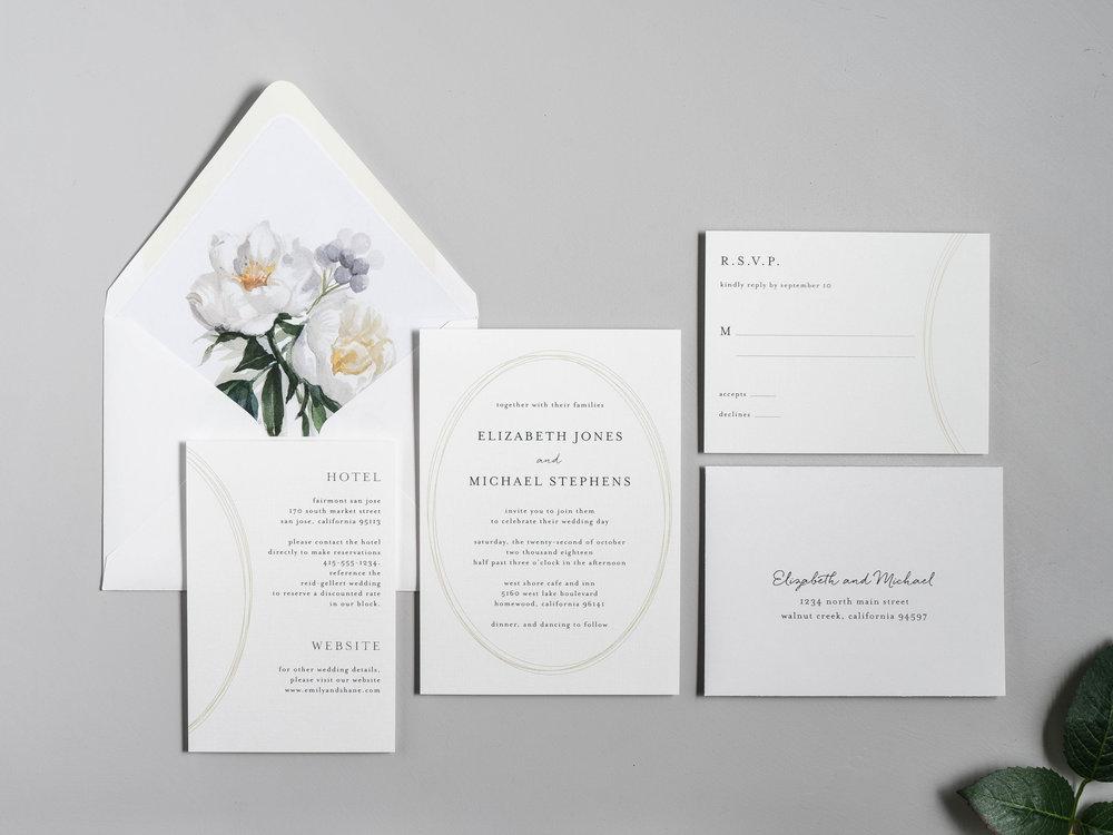 Modern Oval and White Peony Wedding Invitation by Just Jurf-1.jpg