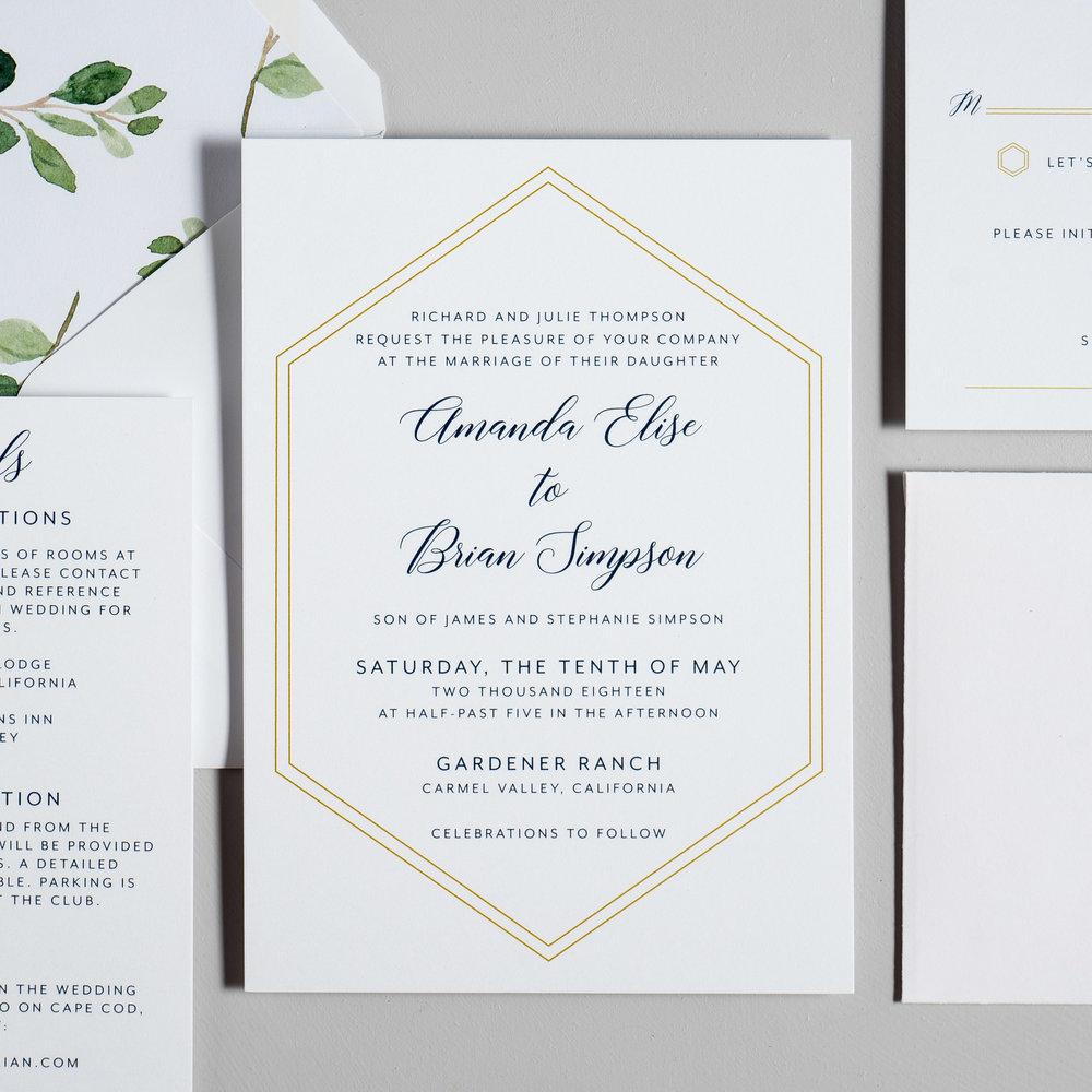 Navy, Gold, and Greenery Wedding Invitations by Just Jurf-2.jpg