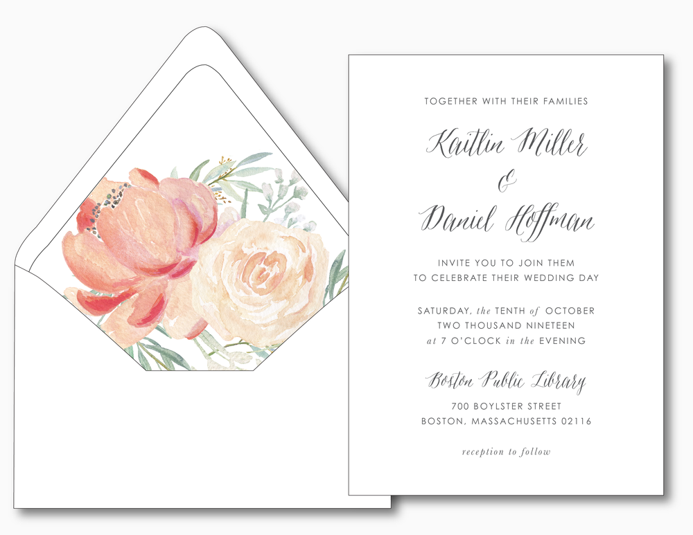 Modern Peach Watercolor Floral