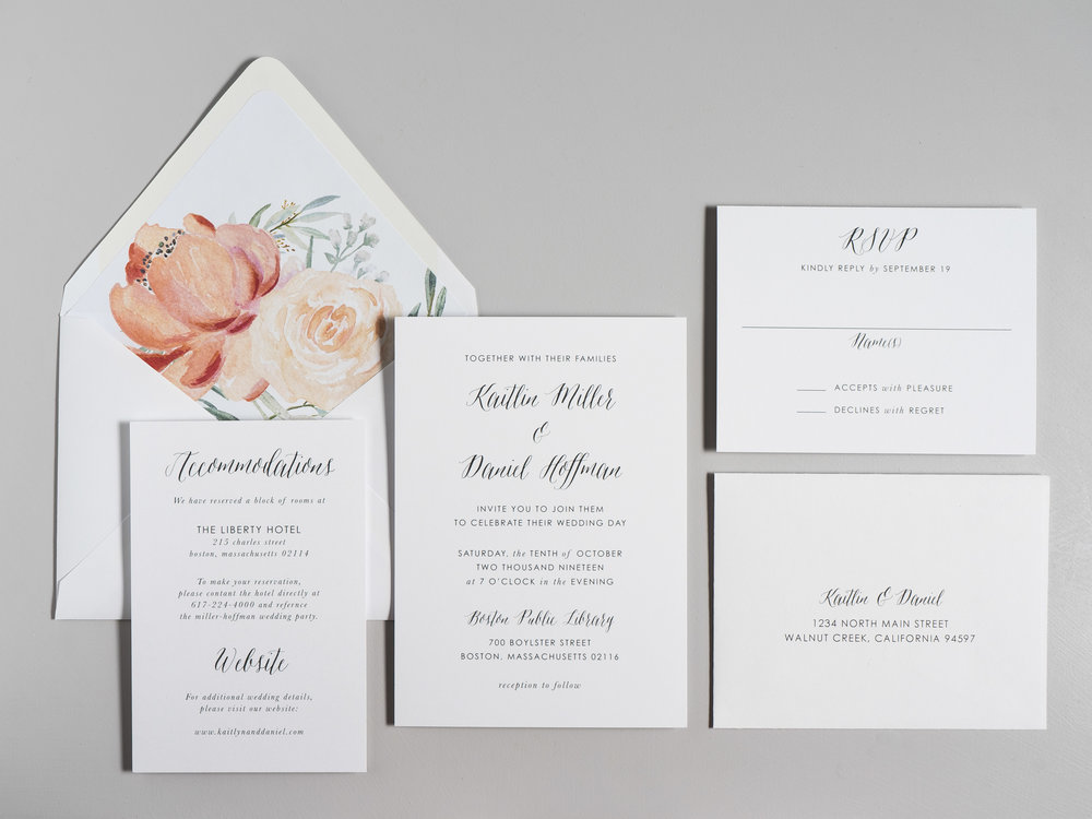 Modern Peach Watercolor Floral Wedding Invitations by Just Jurf-1.jpg