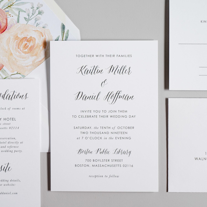 modern peach watercolor floral wedding invitation just jurf designs