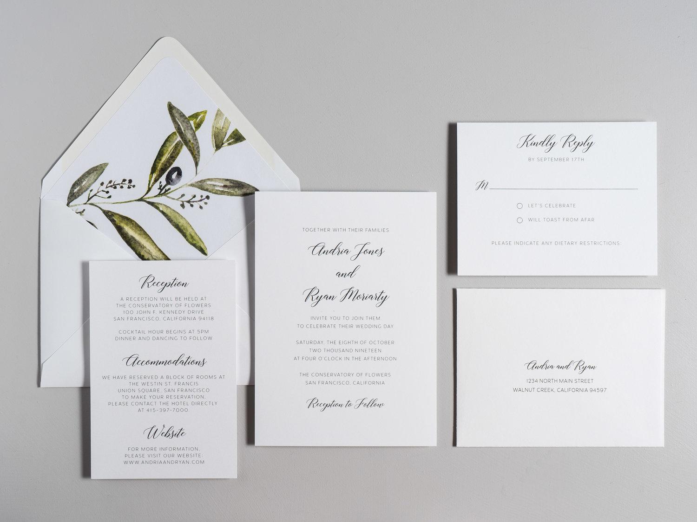 Olive Branch V2 Wedding Invitation — Just Jurf Designs