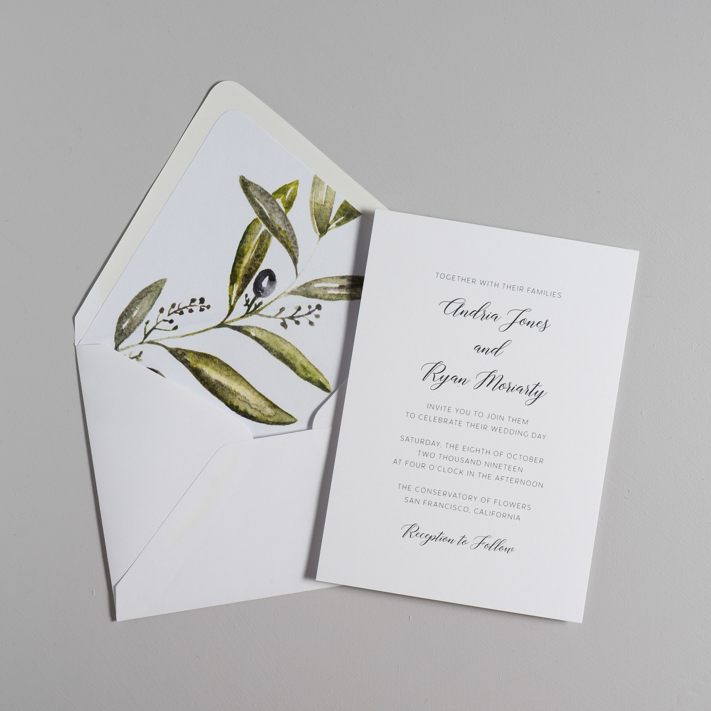 Olive Leaf Wedding Invitation — Just Jurf Designs