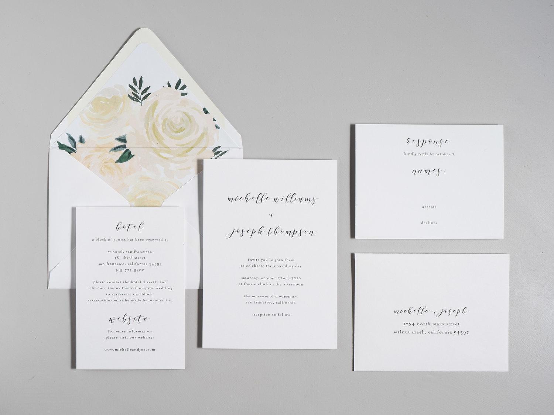 minimalist floral wedding invitation suite just jurf designs