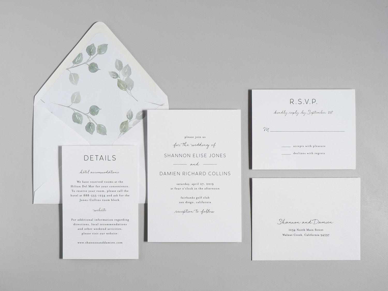 Eucalyptus Minimalist V2 Wedding Invitation — Just Jurf Designs