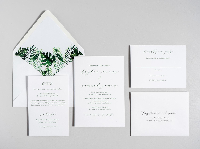 Modern Tropical Wedding Invitation Just Jurf Designs