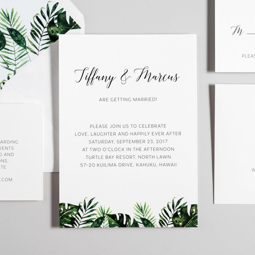Tropical Greenery Palm Leaf Wedding Invitations by Just Jurf-2.jpg