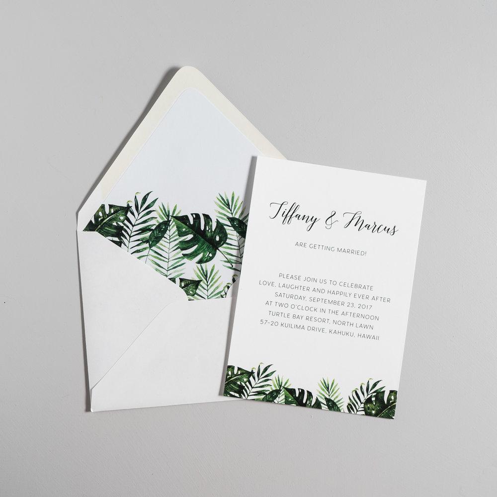 Tropical Palm Leaf Wedding Invitation — Just Jurf Designs