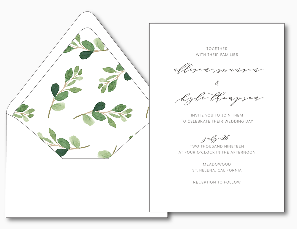 Modern Greenery Wedding Invitation Suite by Just Jurf