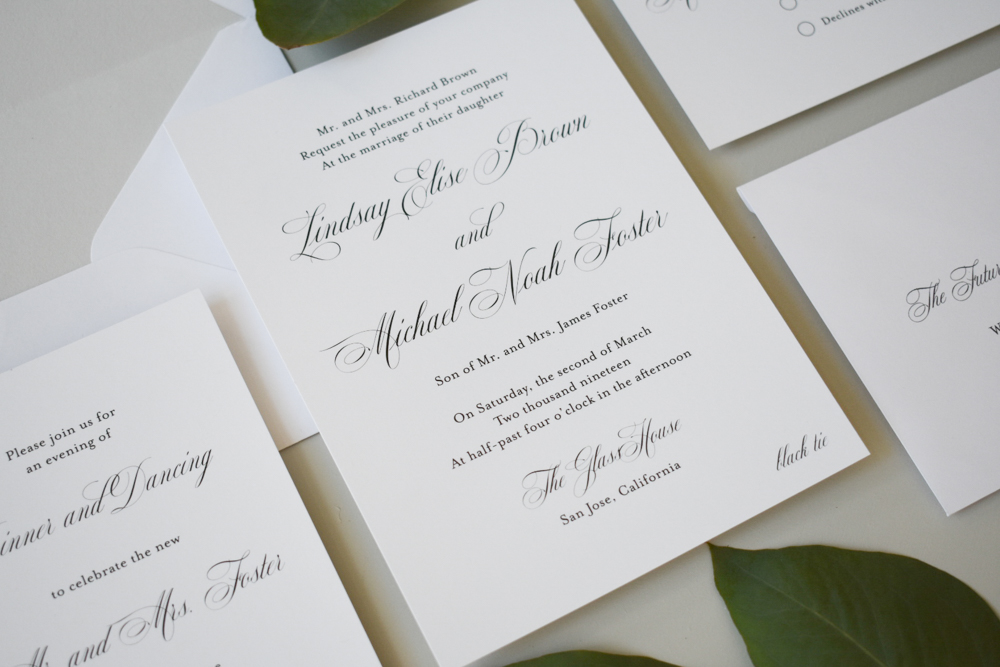 Elegant Script Wedding Invitation