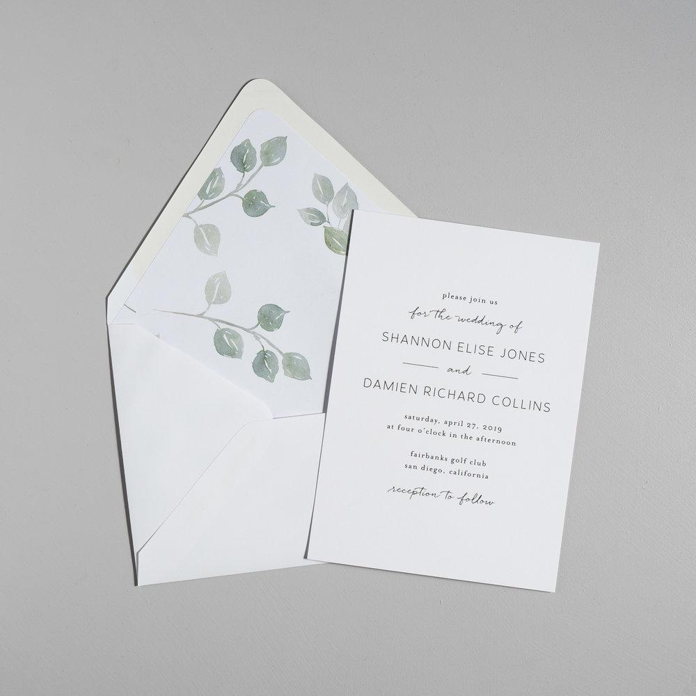 Eucalyptus Minimalist V2 Wedding Invitation Suite by Just Jurf