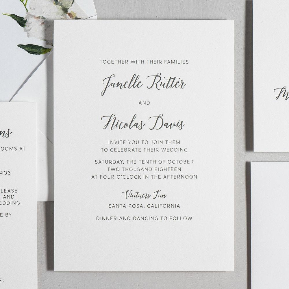 Simple Script V2 Letterpress Wedding Invitations by Just Jurf-2.jpg