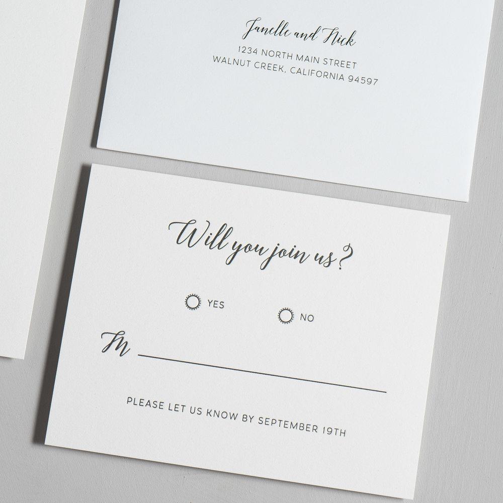 Simple Script V2 Letterpress Wedding Invitations by Just Jurf-4.jpg