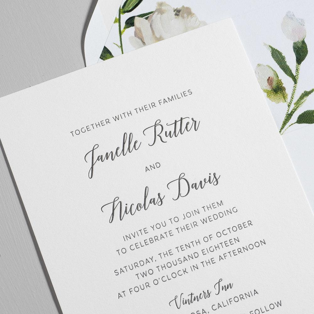 Simple Script V2 Letterpress Wedding Invitations by Just Jurf-8a.jpg