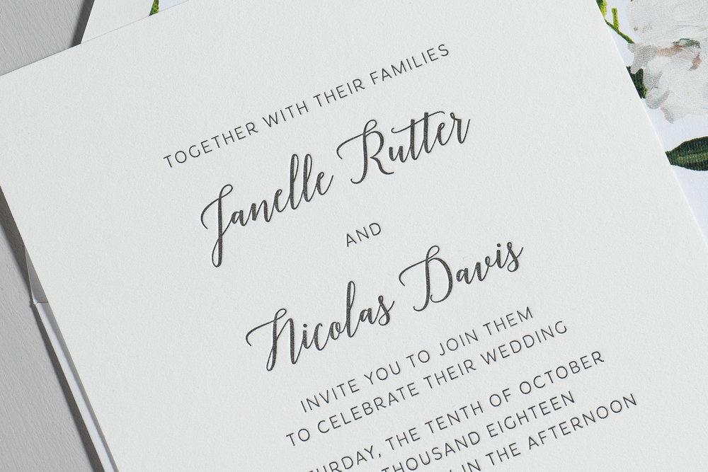Simple Script V2 Letterpress Wedding Invitations by Just Jurf-8b.jpg
