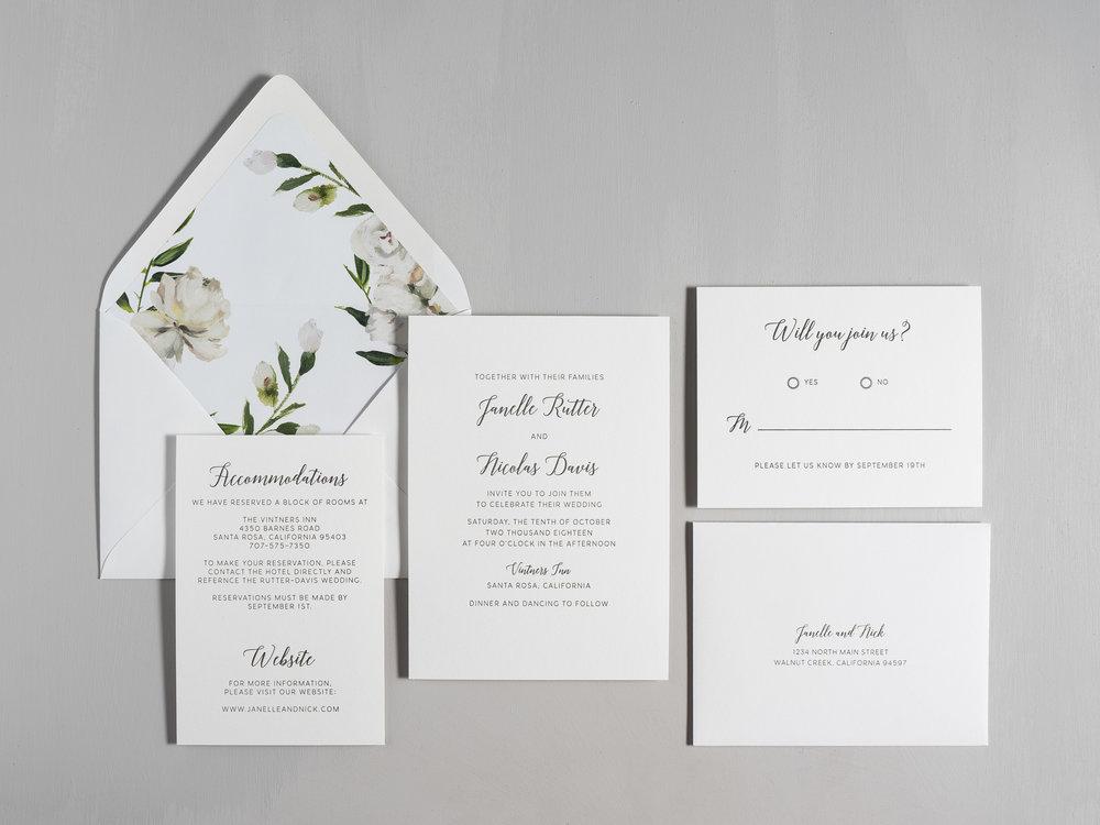 Simple Script V2 Letterpress Wedding Invitations by Just Jurf-1.jpg