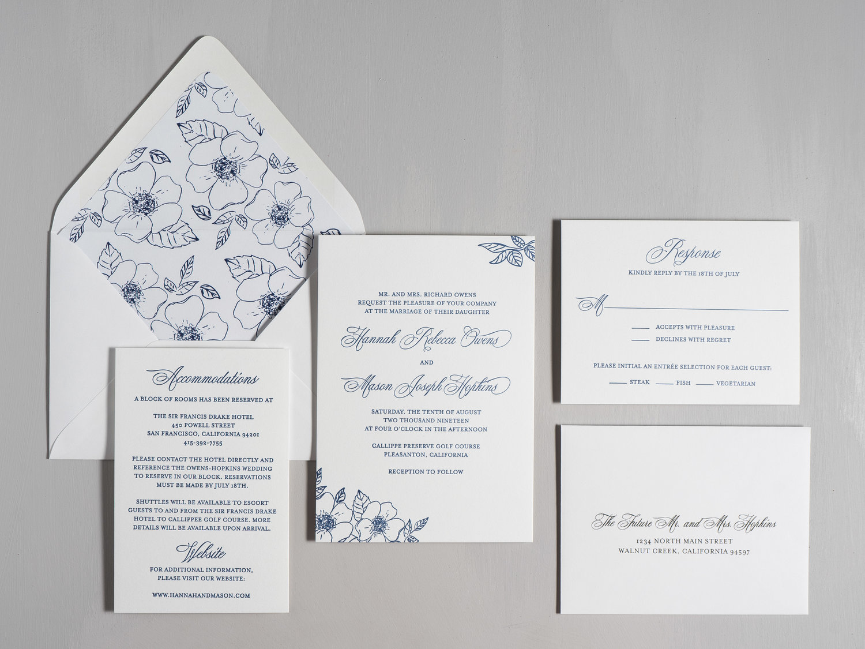 Letterpress Wedding Invitations.Elegant Anemone Letterpress Wedding Invitation Just Jurf Designs