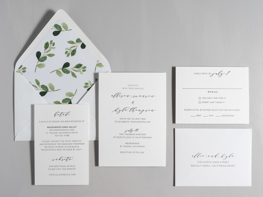 Modern Greenery V2 Letterpress Wedding Invitations by Just Jurf-1.jpg